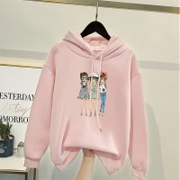 Cartoon Printed Loose Wear Winter Hoodie Top - Pink