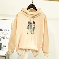 Cartoon Printed Loose Wear Winter Hoodie Top - Apricot