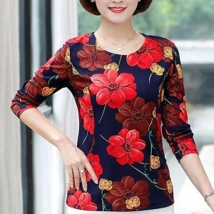 Floral Printed Round Neck Long Sleeves Blouse Top - Red