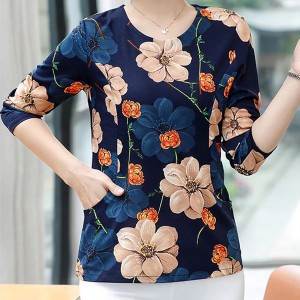 Floral Printed Round Neck Long Sleeves Blouse Top - Blue