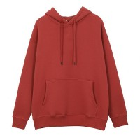 String Closure Loose Duo Pocket Hoodie Top - Red