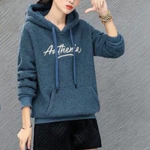 Hoodie Style Text Printed Winter Style Hoodie Top - Blue
