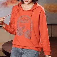 Hoodie Style Text Printed Winter Style Hoodie Top - Orange
