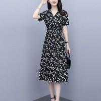 V Neck Printed Midi Length Short Sleeves Dress - Black