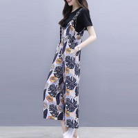 Plants Printed Round Neck Short Sleeves Two Piece Suit