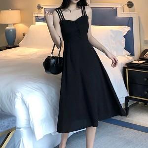 Strap Shoulder A-Line Fancy Wear Women Party Dress - Black