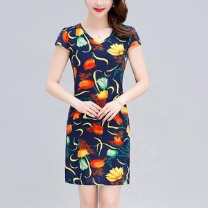 Floral Printed V Neck Short Sleeves Mini Dress - Multicolor