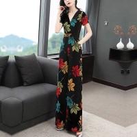 Short Sleeved Digital Printed Full Length Romper Dress