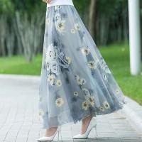 Floral Printed Straight Elegant Style Fashion Skirts - Gray