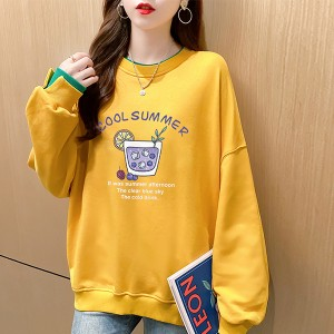Round Neck Alphabetic Baggy Wear Tops - Yellow