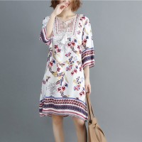 V Neck Floral Bohemian Style Short Dress - White