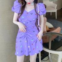 Butterfly Prints Doll Shoulder V Neck Mini Dress - Purple