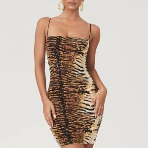 Animal Printed Spaghetti Strapped Bodycon Mini Dress