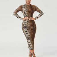 Animal Printed Spaghetti Strapped Bodycon Midi Dress