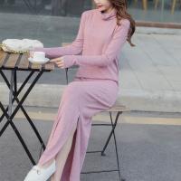 Stand Neck Split Hem Full Sleeves Winter Long Dress - Pink