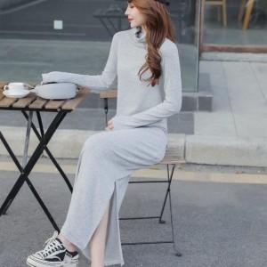 Stand Neck Split Hem Full Sleeves Winter Long Dress - Gray
