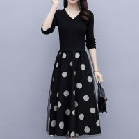 V Neck Polka Dotted Fancy Wear Casual Dress - Black