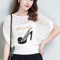 Printed See Through Hollow Loose Women Fashion Tops - White