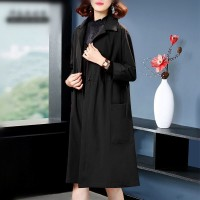 Shirt Collar Long Length Winter Wear Coat - Black