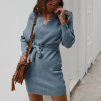 Waist Balt V Neck Loose Wear Mini Dress - Blue