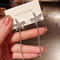 Flower Tassel Fashion Earrings - Silver