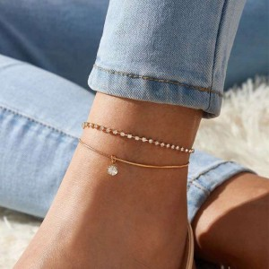 Woman Double Layer Rhinestone Anklet - Golden