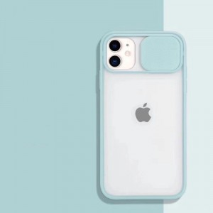 Slide Closure Camera Blurry Fancy Protective Case Cover For iPhone - Light Green