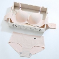Padded Push Up Two Pieces Sexy Wear Lingerie Set - Apricot