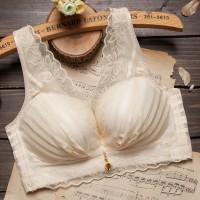 Padded Lace See Through Women Fashion Bra Panty Set - Apricot