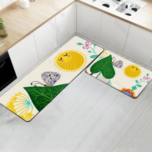 Fancy Printed Two Pieces Corner Shaped Kitchen Carpet Mats - Yellow