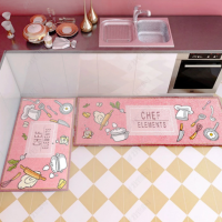 Fancy Printed Two Pieces Corner Shaped Kitchen Carpet Mats - Pink Multicolor