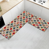 Fancy Printed Two Pieces Corner Shaped Kitchen Carpet Mats - Poppy Red
