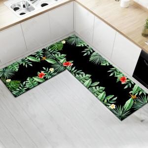 Fancy Printed Two Pieces Corner Shaped Kitchen Carpet Mats - Black Green