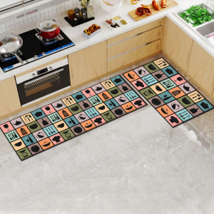 Fancy Printed Two Pieces Corner Shaped Kitchen Carpet Mats - Patched Multicolor