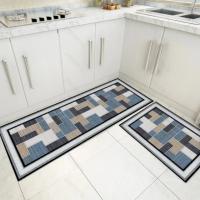 Fancy Printed Two Pieces Corner Shaped Kitchen Carpet Mats - Royal Blue