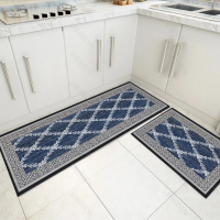 Fancy Printed Two Pieces Corner Shaped Kitchen Carpet Mats - Blue