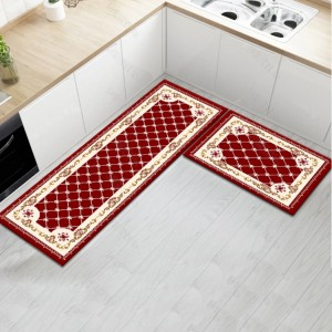 Fancy Printed Two Pieces Corner Shaped Kitchen Carpet Mats - Brick Red
