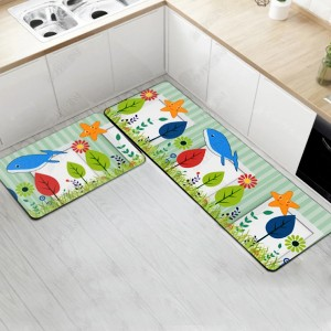 Fancy Printed Two Pieces Corner Shaped Kitchen Carpet Mats - Green Red