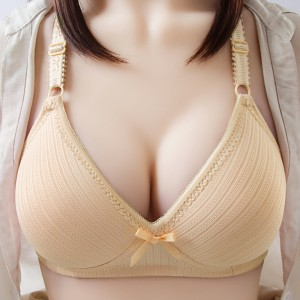 Padded Hooked Strap Shoulder Women Casual Bra - Khaki