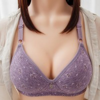 Strap Hooked Closure Floral Printed Push Up Padded Bra - Purple
