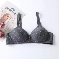 Floral Printed Strap Hooked Closure Push Up Padded Bra - Gray