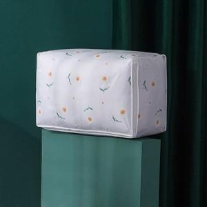 Floral Printed Zipper Closure Clothes Storage Box - White
