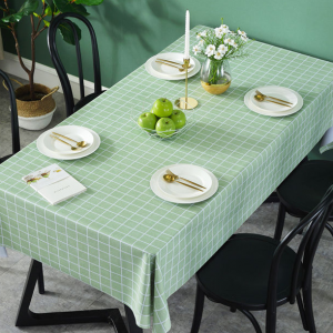 Check Prints Easy Clean Dining Table Cover - Green - 137cm x 90cm