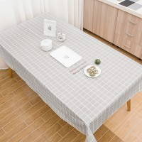 Check Prints Easy Clean Dining Table Cover - Gray - 137cm x 180cm