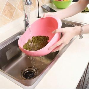 High Quality Plastic Sink Tools Food Washing Sieve Bowl - Pink