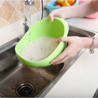 High Quality Plastic Sink Tools Food Washing Sieve Bowl - Green