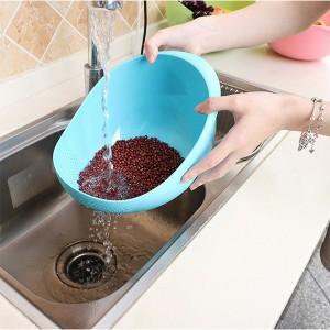 High Quality Plastic Sink Tools Food Washing Sieve Bowl - Blue
