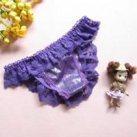 Women Sexy Open Crotch Thong Panties - Purple