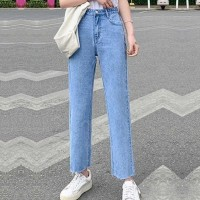 Denim Zipper Closure Button Up Straight Wear Jeans - Light Blue