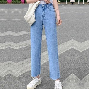 Denim Zipper Closure Button Up Straight Wear Jeans - Light Blue